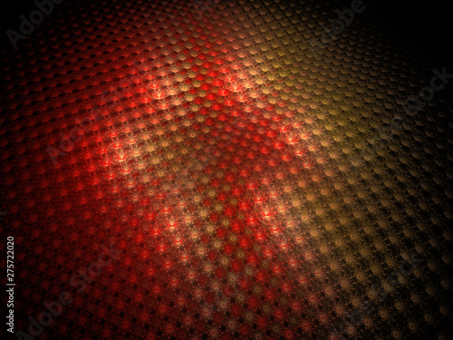 3d Illustration, Light Effects, Spotlight, Small Patches of Abstract Glowing Red Shapes, Symmetrical Pattern, Array of Geometry, Flower Patterns, Digital Design