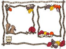 かわいい秋のフレームイラストセット