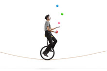 Mime Riding A Unicycle On A Rope And Juggling With Balls