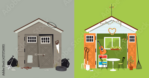 Fotografia Renovation of a garden shed, before and after picture, EPS 8 vector illustration