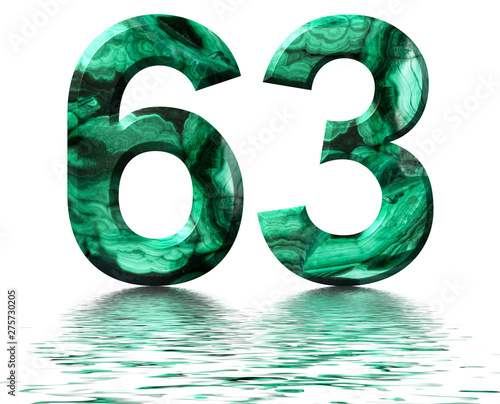 Ταπετσαρία τοιχογραφία  Arabic numeral 63, sixty three, from natural green malachite, reflected on the w