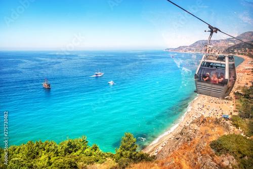 Poster Turquoise Море и Пляж Клеопатры Mediterranean Sea and Cleopatra Beach