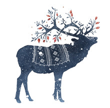 Watercolor Illustration Of Deer With Magic Horns In The Snow Isolated On White Background