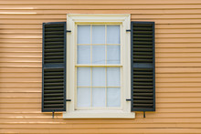 Old Historic Window Exterior With Shutters