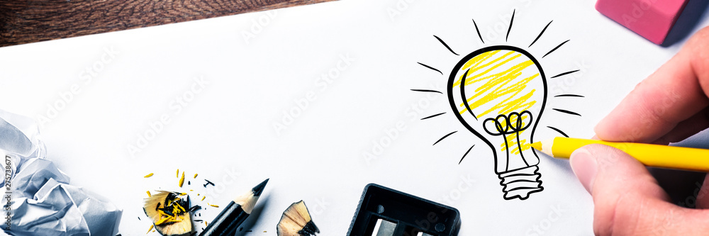 Fototapety, obrazy: Hand Drawing Light Bulb On Paper - Bright Idea Concept