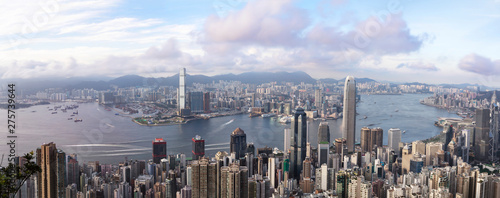 Foto auf Leinwand Grau Hong Kong cityscape late afternoon