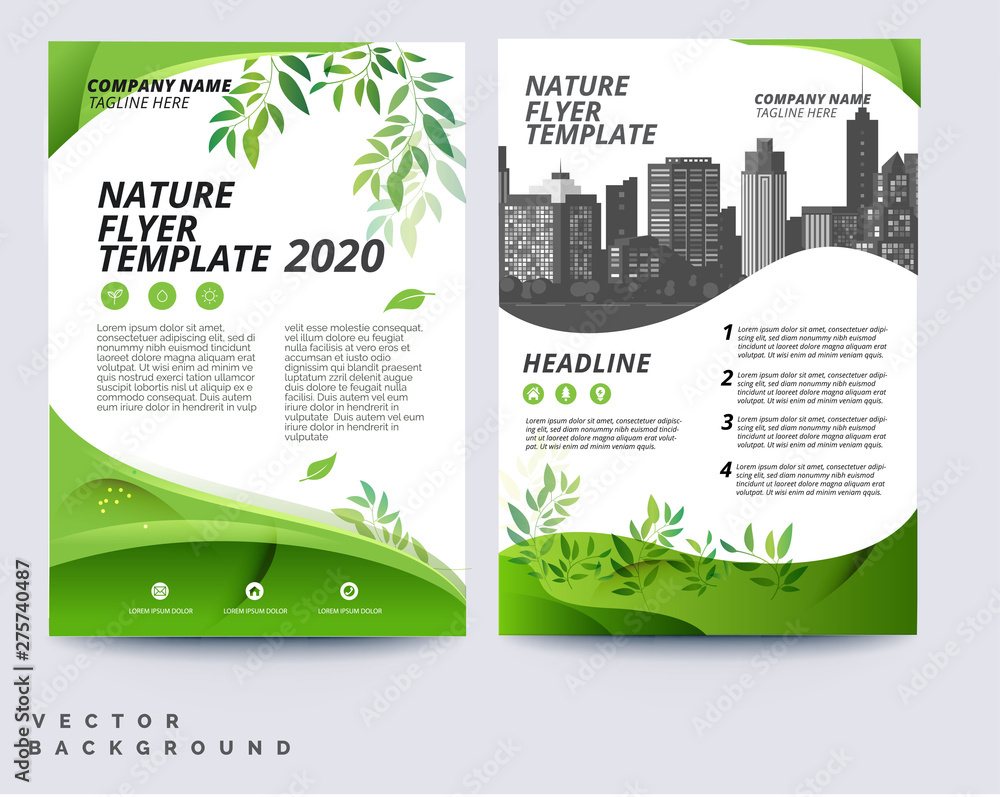 Fototapeta Business green brochure layout template