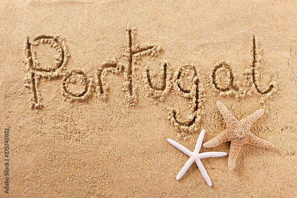Fototapety, obrazy: Portugal algarve handwritten beach sand message