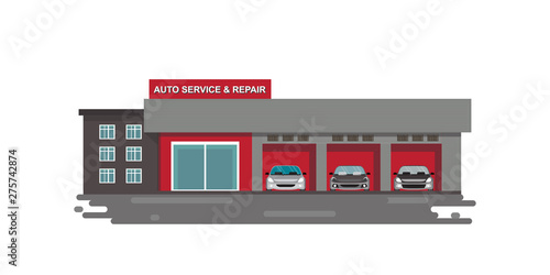 Photo Auto car service and repair center or garage with cars isolated on white