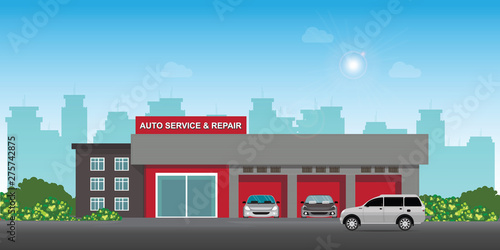 Garden Poster Cartoon cars Auto car service and repair center or garage with cars.
