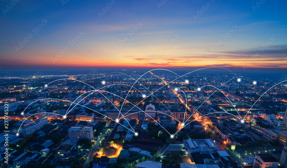 Fototapety, obrazy: smart city and communication network