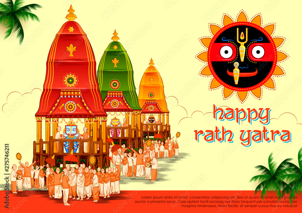 Fototapety, obrazy: illustration of Lord Jagannath, Balabhadra and Subhadra on annual Rathayatra in Odisha festival background