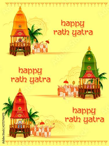 Fotografie, Tablou illustration of Lord Jagannath, Balabhadra and Subhadra on annual Rathayatra in