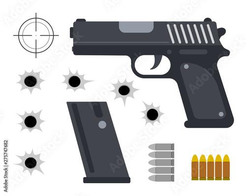 Fotografía Gun with bullet set and bullet holes on white background - Vector illustration