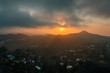Sunset over the Hollywood Hills at Runyon Canyon Park, in Los Angeles, California