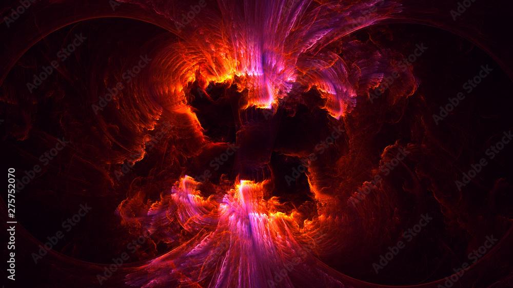 Fototapeta 3D rendering abstract red fractal light background