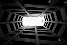 Looking Up In A Modern Parking...