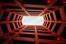 Looking Up In A Modern Parking Structure, In Downtown Los Angeles, California