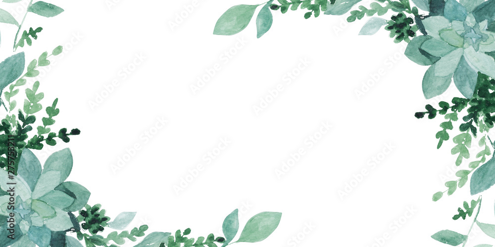 Fototapety, obrazy: watercolor green leaves  isolated on white. Sketched wreath, floral and herbs garland. Handdrawn watercolour illustration