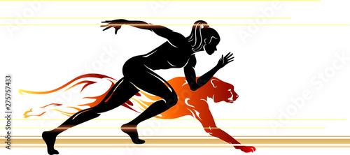 Cuadros en Lienzo Super Human Speed, Female Runner