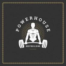 Fitness Gym Badge Or Emblem Vector Illustration.