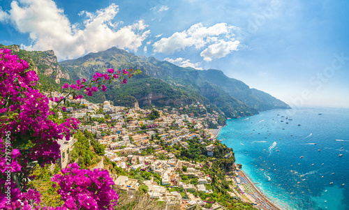 Canvas Prints Blue sky Landscape with Positano town at famous amalfi coast, Italy