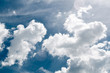 Incredibly wonderful lush cumulus clouds against a blue sky