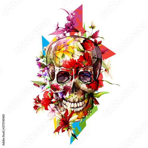 Printed kitchen splashbacks Watercolor skull Vintage illustration of skull with flowers on white. Hand drawn, vector - stock.