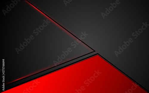 Fototapeta  Abstract background red and black frame layout steel design tech innovation concept with triangle shape composition