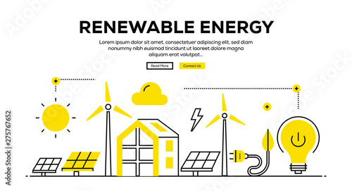 Fototapeta RENEWABLE ENERGY FLAT LINE WEB BANNER DESIGN obraz