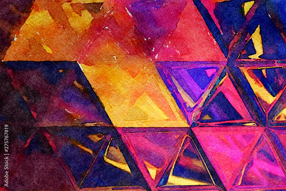 Fototapeta Oil pastel drawing. Abstract color background. Fine art print. Impressionism style abstraction. Modern surrealism painting. Good as wall decor poster. Stock. Surreal bright design. Watercolor elements