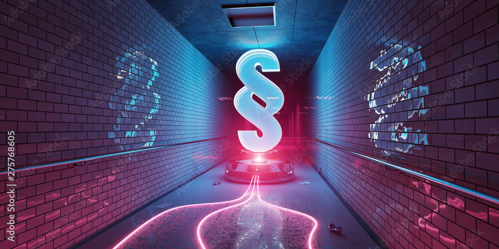 Fototapety, obrazy: Law paragraph digital hologram in underground 3D rendering