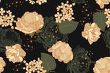 Kwiatowy wzór vintage z róż, tulipanów i bzu. Rysunek, ilustracji wektorowych. - 275773204