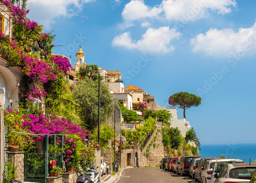 Poster Bleu Landscape with Positano town at famous amalfi coast, Italy