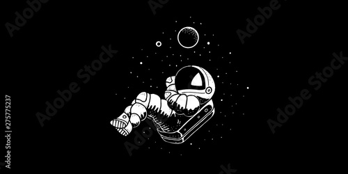 Photo  Astronaut flying in cosmos vector illustration