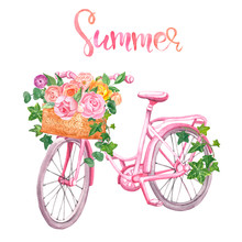 Watercolor Floral Bicycle, Isolated. Romantic Pink Bike, Basket And Flowers On White Background. Widding Design, Cards, Invitations.