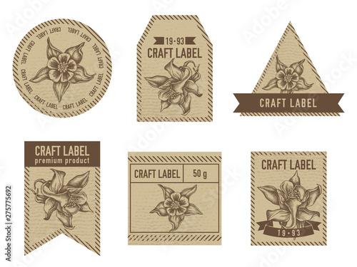 Canvas Craft labels with aquilegia