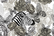 Zebra With Flowers And Butterf...