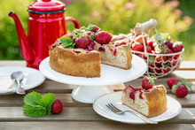 Summer Strawberry Cake Wooden Table