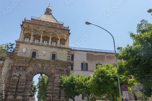 Historical gate and tower of royal palace in Palermo Sicily, view from the main Wallpaper Mural
