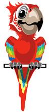 Cartoon Red Macaw Parrot. Ara ...