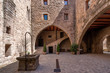 canvas print picture - View of the Courtyard in the medieval castle of Cardona. The most important medieval fortress in Catalonia and one of the most important in Spain