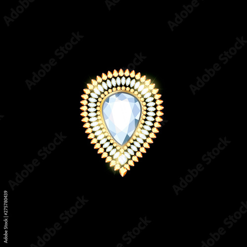 Photo Brooch pendant with precious stones