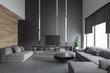 Leinwanddruck Bild - Living room interior with sofas and TV