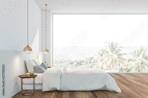 Fototapeta Panoramic white master bedroom interior