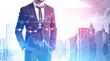 Confident businessman in city, forex graphs
