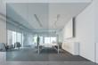 Leinwandbild Motiv White and glass meeting room with screen