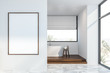 canvas print picture - White loft bathroom with tub and poster