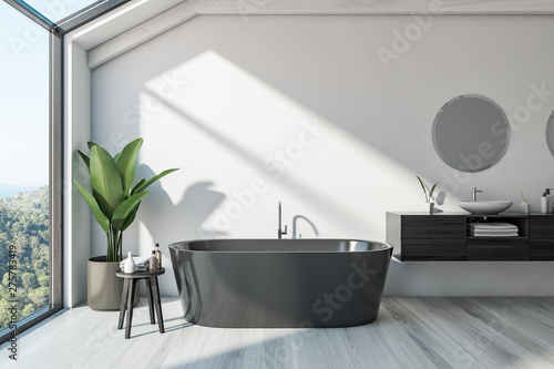 Poster Dogs Scandinavian bathroom interior, tub and sink