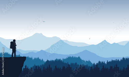 Fotografía realistic illustration of mountain landscape with coniferous forest under blue sky with flying birds